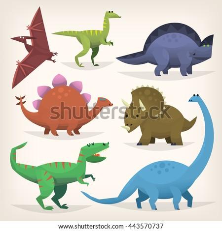 Cute cartoon dinosaurs from prehistoric jurassic period. Isolated illustrations - stock vector