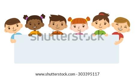 Cute cartoon diverse children holding blank text banner. - stock vector