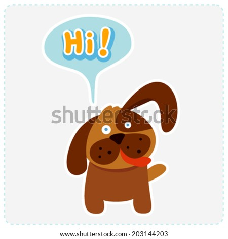cute cartoon dog and a speaking bubble - vector illustration - stock vector