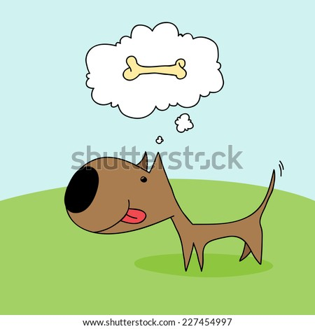 Cute cartoon dog wagging his tail and thinking about a bone. - stock vector