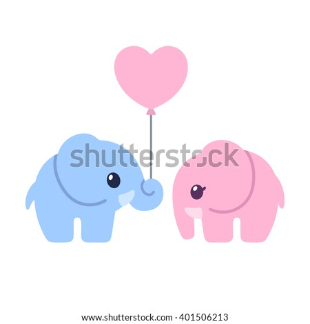 Cute cartoon elephant couple. Elephant boy and girl with heart shaped balloon. Valentines day greeting card illustration.  - stock vector