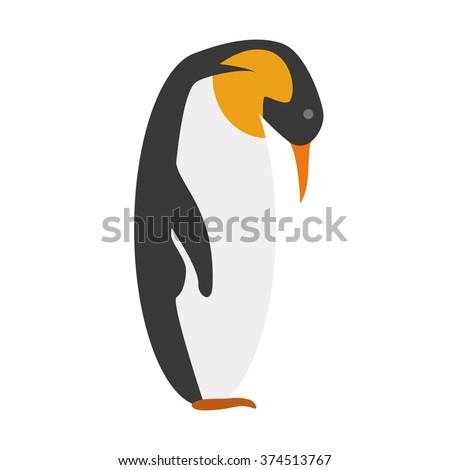 Cute cartoon Emperor penguin vector illustration - stock vector