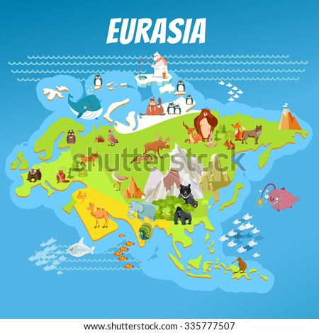 Cute cartoon eurasia continent map with landscapes and animals. Vector illustration for kids education,poster design - stock vector