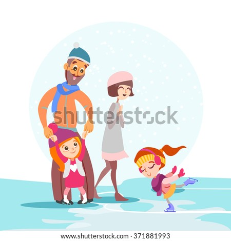 Cute cartoon family skating together on ice rink in winter. Happy father,mother and two little daughter walking on winter vacations.Vector illustration - stock vector
