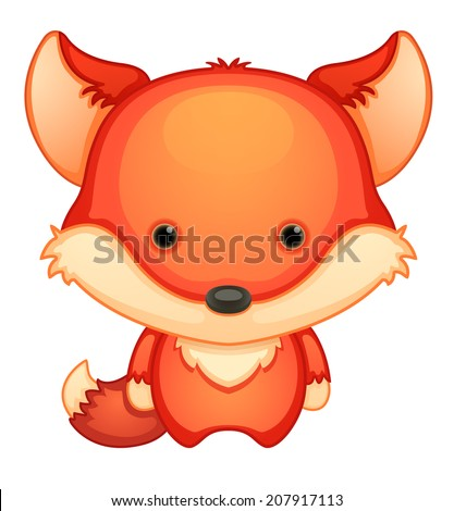 Cute Cartoon Fox - stock vector