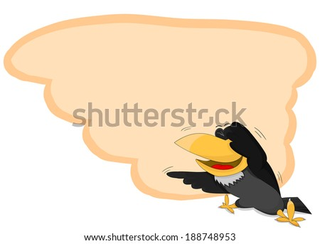 Cute cartoon framework with unusual raven - stock vector