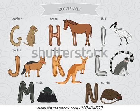 Cute cartoon funny zoo alphabet in vector. G, h, i, j, k, l, m, n letters. Gopher, horse, ibis, jackal, kangaroo, lemur, mole, nutria. Design in a colorful style. - stock vector