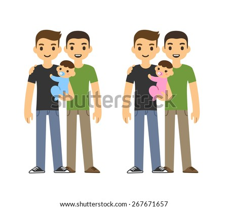 Cute cartoon gay couple holding a baby and smiling, isolated on white background. Two variants: with baby boy and girl. - stock vector