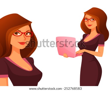 cute cartoon girl with pink laptop - stock vector
