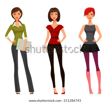 cute cartoon girl with various outfits and hairstyle - stock vector