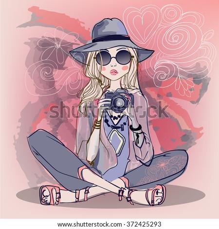 cute cartoon girls - stock vector