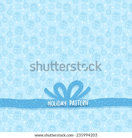 Cute cartoon hand drawn seamless Christmas pattern. Holiday tile background for your fabric textile, wrapping paper or wallpaper. - stock vector