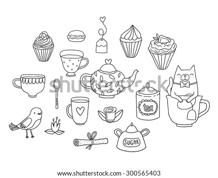 Cute cartoon hand drawn tea party illustration. Adorable cat in the tea cup, little bird, tea bag, mugs, cupcake, macaroon and muffin. Doodle vector food and animal clip art. - stock vector