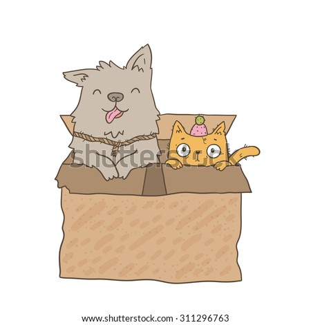 Cute cartoon homeless cat and dog sitting in cardboard box.. Shelter illustration. Adorable animal image. Funny vector. - stock vector