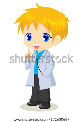 Cute cartoon illustration of a doctor - stock vector