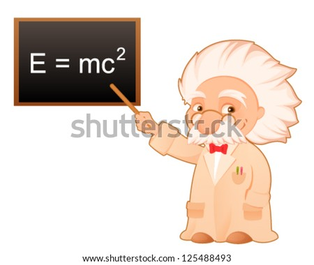 cute cartoon illustration of a scientist pointing at the famous theory of relativity formula on the board - stock vector