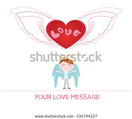 cute cartoon illustration of young angel man in love, love card. - stock vector