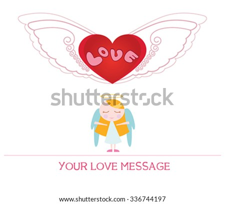 cute cartoon illustration of young angel woman in love, love card. - stock vector