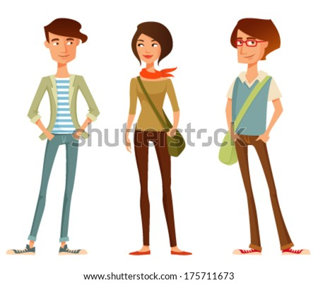 cute cartoon illustration of young people in stylish hipster clothes - stock vector