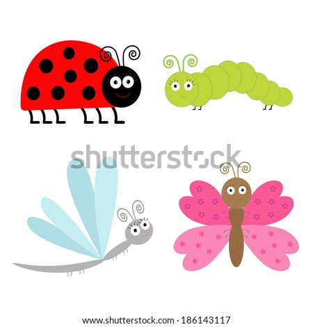 Cute cartoon insect set. Ladybug, dragonfly, butterfly and caterpillar. Isolated. Vector illustration. - stock vector