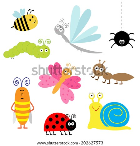 Cute cartoon insect set. Ladybug, dragonfly, butterfly, caterpillar, ant, spider, cockroach, snail. Isolated. Vector illustration - stock vector