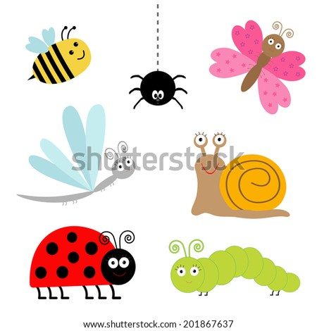 Cute cartoon insect set. Ladybug, dragonfly, butterfly, caterpillar, spider, snail. Isolated. Vector illustration - stock vector