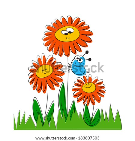 Cute cartoon insects and flowers  - stock vector