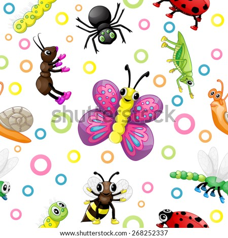 Cute cartoon insects pattern - stock vector
