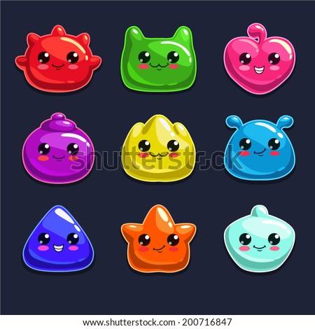 Cute cartoon jelly monsters, vector - stock vector