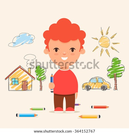 Cute Cartoon Kid Drawing House, Car and Trees on the Wall. Colorful Vector Illustration - stock vector