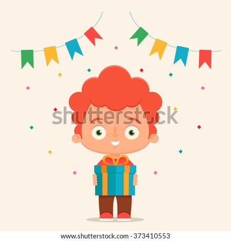 Cute Cartoon Kid Holding a Gift Box. Birthday Party Concept. Colorful Vector Illustration - stock vector