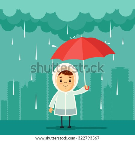 Cute Cartoon Kid with Umbrella Standing Under the Rain. Buildings Silhouettes on Background. Vector Illustration - stock vector