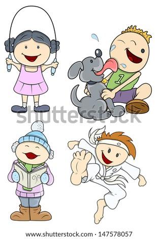 Cute Cartoon Kids - stock vector