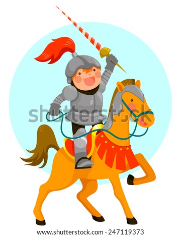 Cute cartoon knight riding his horse - stock vector