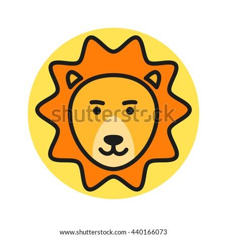 Cute Cartoon Lion Head. Vector Icon Illustration - stock vector