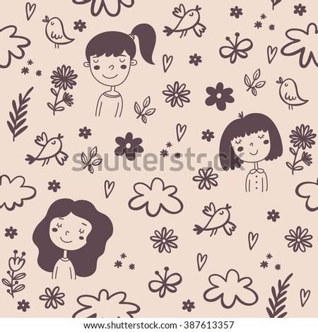 Cute cartoon little girls. Seamless pattern - stock vector