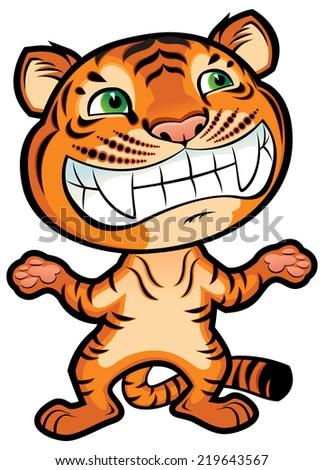 Cute cartoon little tiger - stock vector