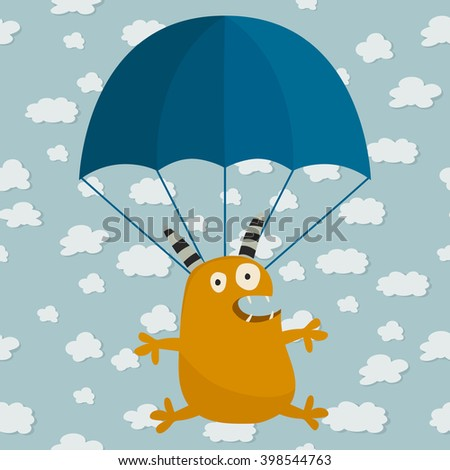 Cute cartoon monster flying on parachute. Childish background with funny cartoon monster. Vector illustration. - stock vector