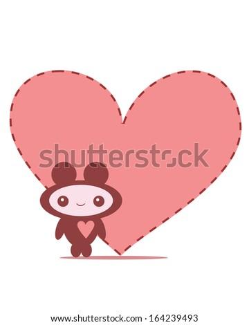 cute cartoon monster in love - stock vector