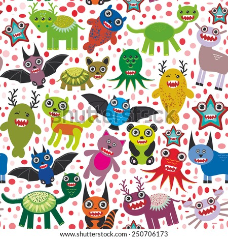 Cute cartoon Monsters seamless pattern  white background. Vector - stock vector