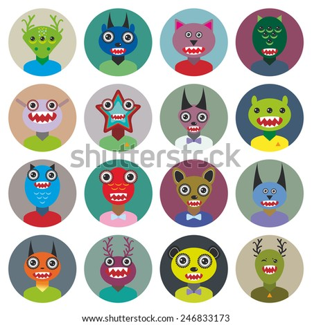 Cute cartoon Monsters Set. Big collection on white background. vector - stock vector