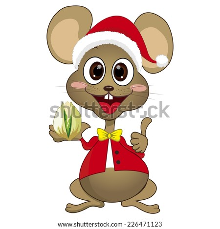 Cute cartoon mouse is holding the food - stock vector