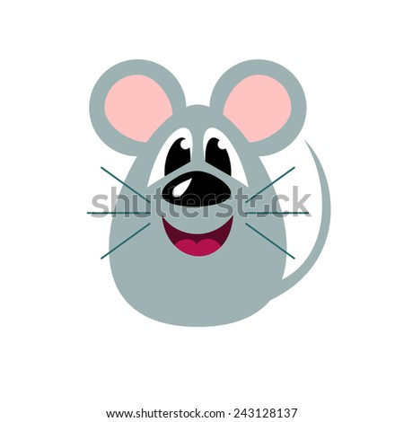 Cute cartoon mouse, stylized funny monster, vector illustration - stock vector