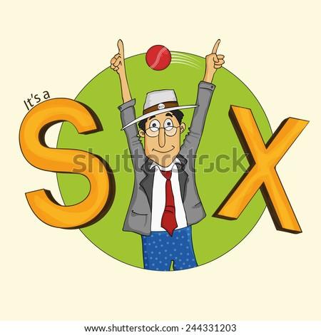 Cute cartoon of a cricket empire indicating a boundary ball hitting Six. - stock vector