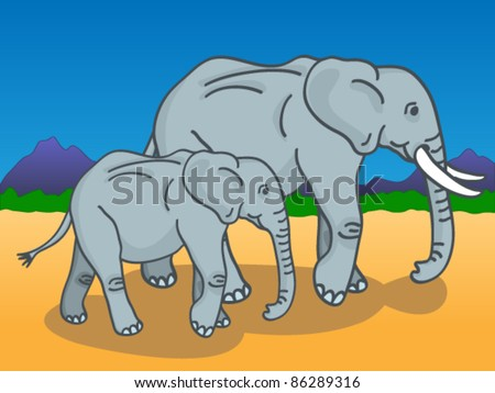 Cute cartoon of a mother and baby elephants walking under the sun in the African savannah with mountains and trees in the background. - stock vector