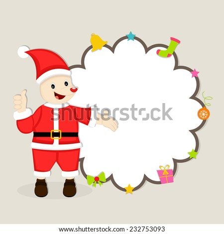 Cute cartoon of a Santa Claus showing blank stylish frame decorated with X-mas ornaments for Merry Christmas and other occasion celebrations. - stock vector
