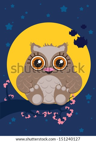 Cute cartoon owl character with big eyes sitting on the branch full of flowers. Night sky with a big moon and stars. Illustration made in Kawaii style. Vector illustration. - stock vector