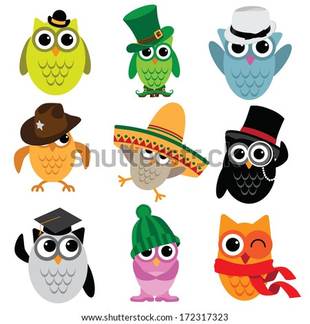 Cute cartoon owl collection. EPS 10 vector, grouped for easy editing. No open shapes or paths. - stock vector