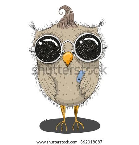 Cute cartoon owl in sunglasses with a phone - stock vector
