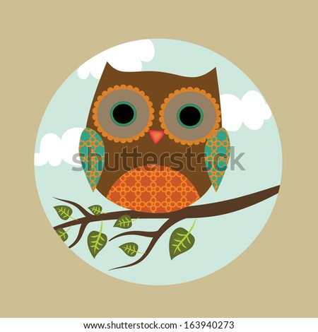Cute cartoon owls on a branch - photo#6